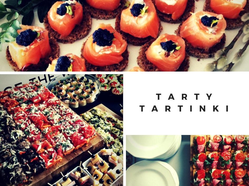 tarta z pomidorem, tarta z pieczarkami, tarta z brokułami, koreczki, kanapeczki, talerze białe, łosoś, kawior, tartinki,
